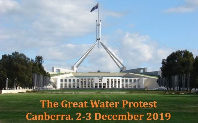 The Great Water Protest.  Parliament House. Canberra (Video).
