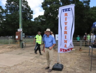 Flying The Riverina State Banner at the Annual January Deniliquin Store Sheep Sale 15/1/21.