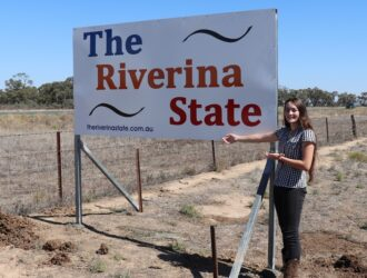 Sturt Highway Riverina State Sign.
