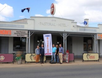 Flying the Banner at the Pastoral Hotel, Echuca.